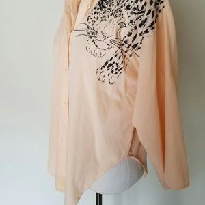 Vintage Tops - Rawr Cheetah Artist Print Button Up Blouse Leopard